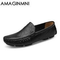 AMAGINMNI Holgazanes Hombres Nuevos Hechos A Mano Zapatos Casuales Hombres Mocasines de Cuero Suave Para Los Hombres de Cuero Zapatos Planos de gran tamaño 36-50 de la moda