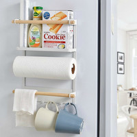 Multipurpose Magnetic Adsorption Refrigerator Storage Rack Kitchen Paper Towel Shelf Rack Refrigerator Side Wall Hanger Organize