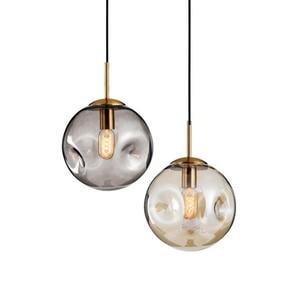 Image 3 - Modern loft glass ball pendant light LED E27 Nordic hanging lamp with 2 colors for living room restaurant bedroom lobby kitchen