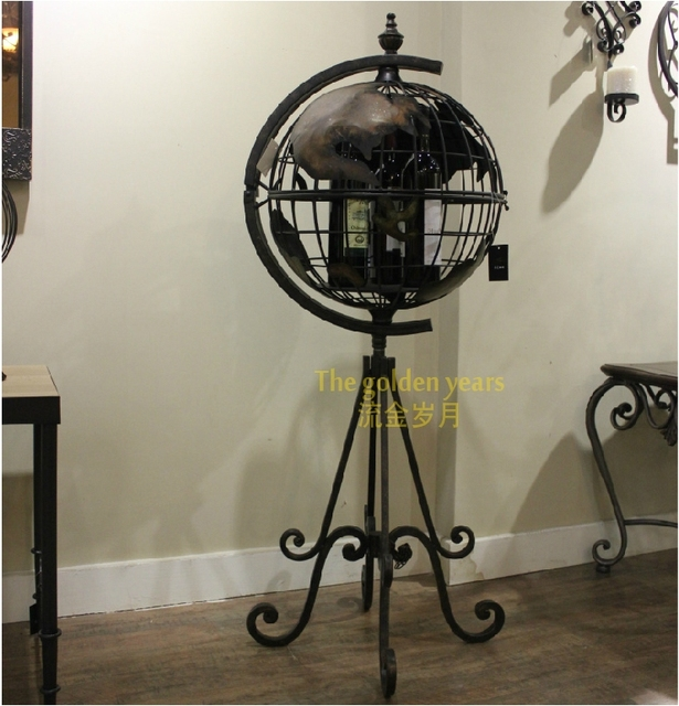 European And American Vintage Wrought Iron Wine Rack Globe Living