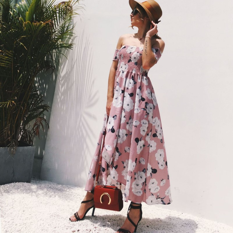 US $15.42 52% OFF|long loose dress plus size summer dresses for women  strapless maxi dress tunic beach boho floral dress casual clothes AC7523-in  ...