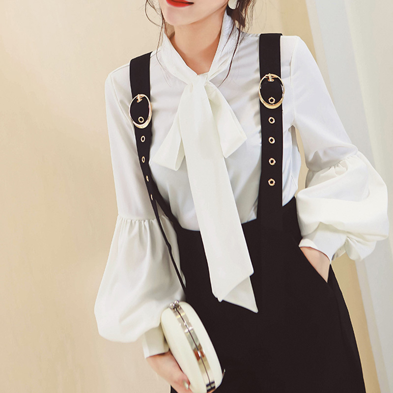TWOTWINSTYLE Lace Up Bowknot Puff Sleeve White Women's Blouses Shirts Big Size OL Elegant Tops Autumn Feminine Blouse Clothes