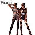 TOP Fashion Cadeias/Mãos Impressão 2 Peça Colheita Terno Top + Calças Lápis 2016 Novas Mulheres de Outono Bodycon Apertado Sportwear Ocasional elástico