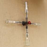 Vintage Industrial LED wall lamp 4 lights iron rust Cross style Water pipe wall lights for living room bedroom restaurant