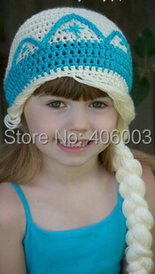 Fashion Baby Girls Corchet Knitted Hat Princess Winter Handmade Beanies Hats Kids Children Photo Prop 2014