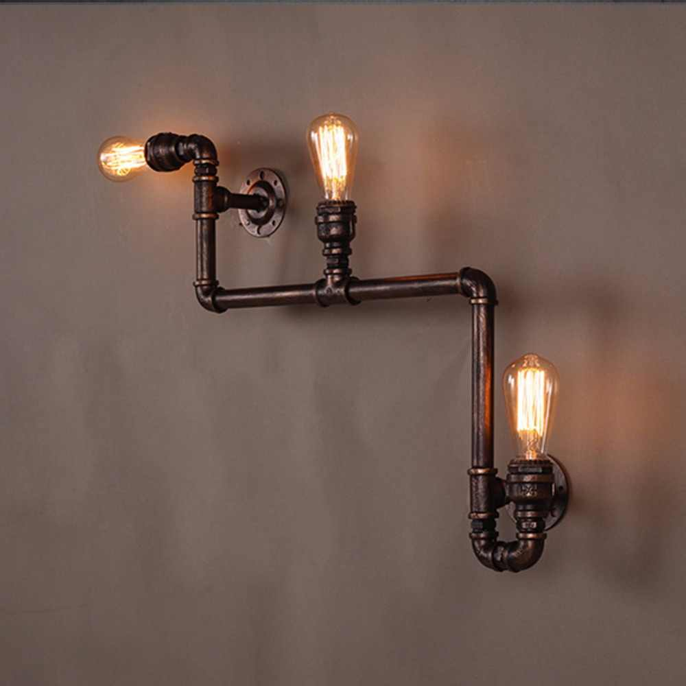 3 head loft industrial wall lamp antique e27 edison bulbs vintage water pipe wall lamp for living room home lighting