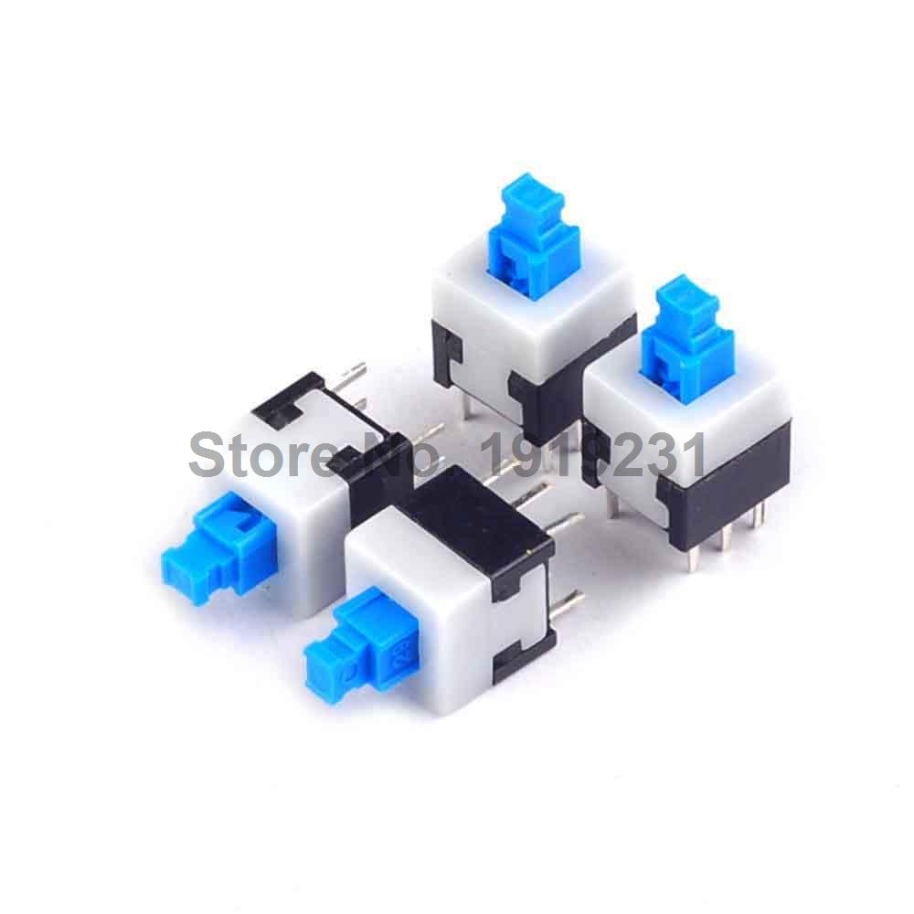 50PCS 8*8mm Self Locking Switch 8mm x 8mm Miniature Self-locking Switch Push Rectangle Button 6Pin gudi block city large passenger plane airplane block 856 pcs bricks assembly boys building blocks educational toys for children