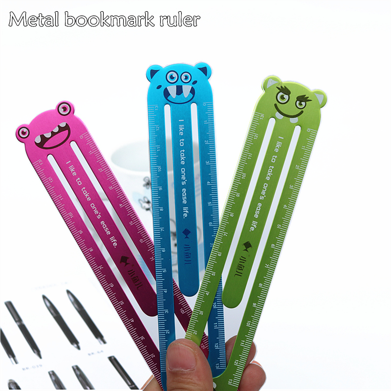 1PC Metal Bookmark Straight Ruler Cute Cartoon Aluminum Alloy Student Ruler