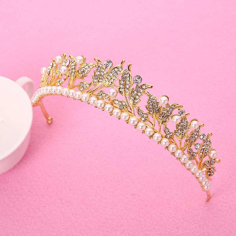 Luxury Pearl Rhinestone Leaf Bride Crown and Tiara Women Wedding Bridal Coronal Headdress Hair Ornaments Accessories BH