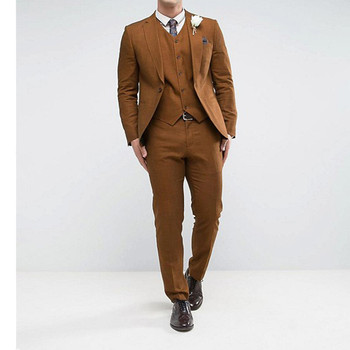 Fashion Men Wedding Suits Classic 1 Button Brown Men Suit Terno Masculino Slim Fit Blazer Male Formal Business Jacket+Pant+Vest