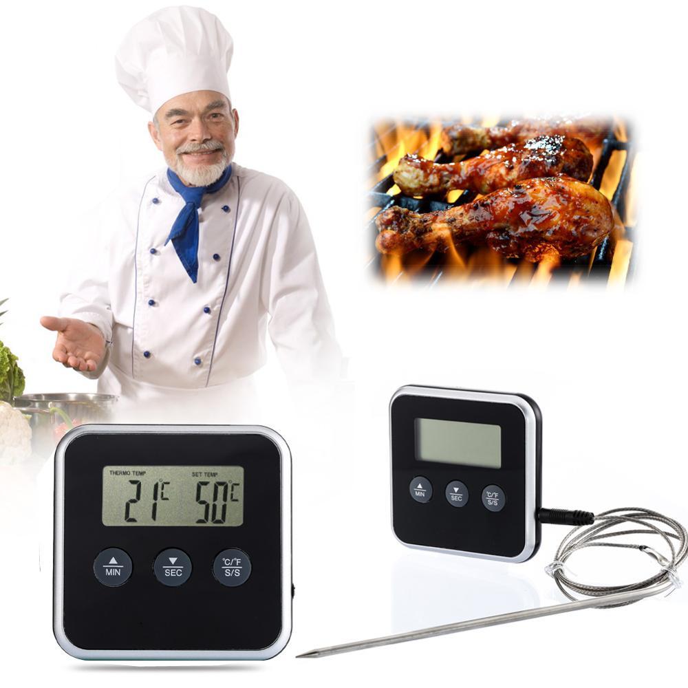 Profesional LCD Digital carne barbacoa termómetro de cocina temporizador sonda horno cocina alimentos termómetro con sonda