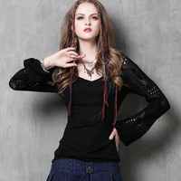 Seventh 2015 New Fashion Vintage Crochet Lantern Long Sleeve V Neck Knitted T Shirt Women Tops