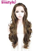 """Imstyle Wavy Synthetic Light castaño Marrón color mezclado 26 """"frente peluca de encaje"""