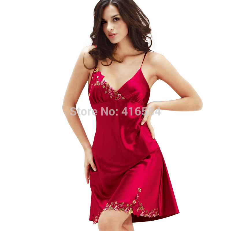 cdb48f6a1 Womens Satin Slip Silk Sleepwear Summer New Imitate Silk Slip Sexy  Nightgowns Embroidery Silk Nightdress High Quality Sleepwear-in Nightgowns  & Sleepshirts ...