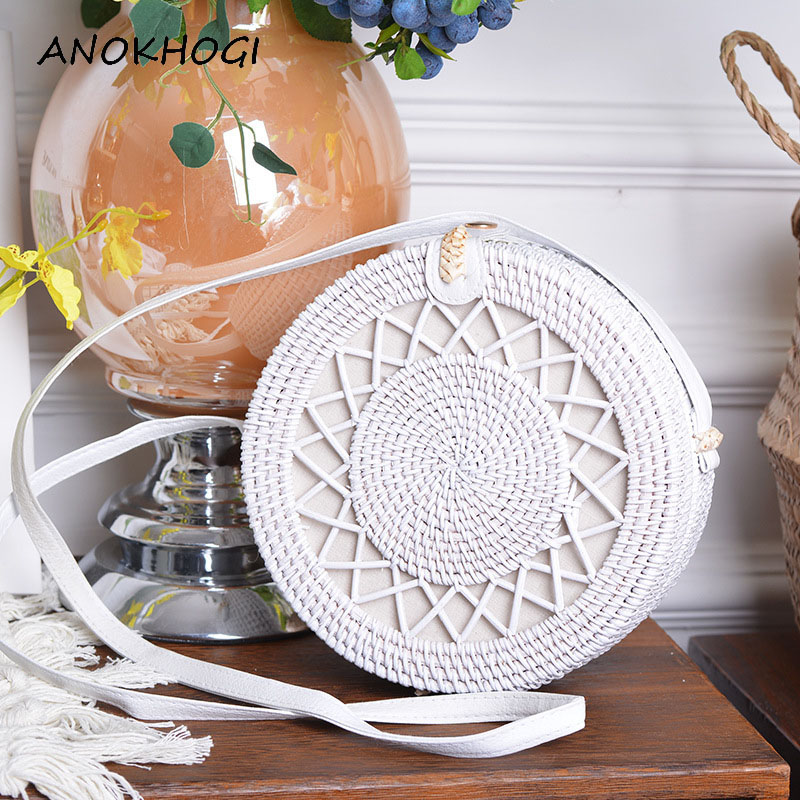 Beach White Hollow Out Stars Women Shoulder Bags Handmade Woven Circle Rattan Bag Summer Holiday Female Crossbody Bags B411