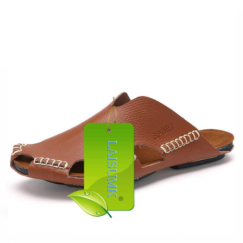 c75ff82a0 ... LAISUMK Summer Men Sandals Genuine Split Leather Men Beach Sandals  Brand Men Casual Shoes Flip Flops ...