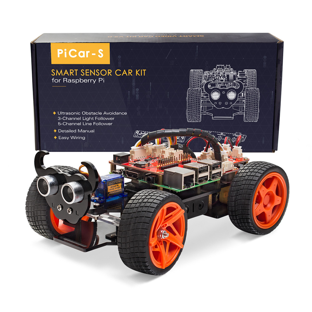 SunFounder Raspberry Pi Smart Robot Car Kit PiCar S Block Based Graphical Visual Programmable Electronic Toy with Detail Manual