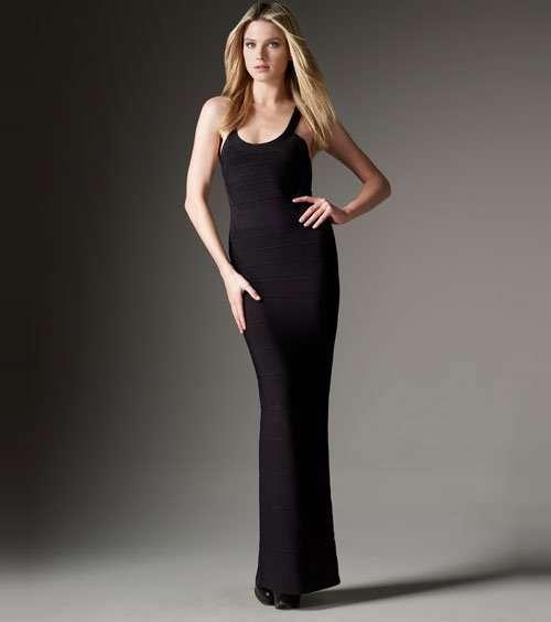 4d58466a28e9 2016 alta moda mujeres ropa damas tubo de espagueti negro largo del vendaje  vestidos con Splits