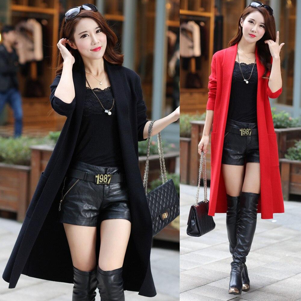 S-XXXL cachemire pull Long manteau mode sauvage nouveau automne hiver femmes à manches longues tricoté Cardigan femme 167-135F