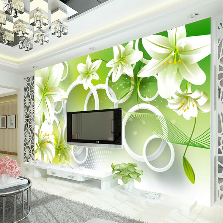 Elegant lily photo wallpaper 3d flower wallpaper bedroom kid room getsubject aeproduct junglespirit Choice Image