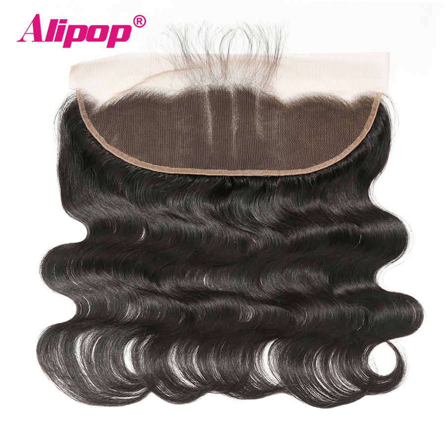 Brazilian 13x4 lace frontal Body Wave Ear to Ear Lace frontal Closure With Baby Hair Pre Plucked ALIPOP Remy Hair Natural Color (6)
