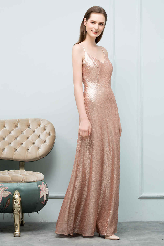 Seksi Rose Emas Payet Gaun Bridesmaid Panjang Elegan Backless Line Gaun untuk Pesta Pernikahan Jubah Demoiselle D'honneur