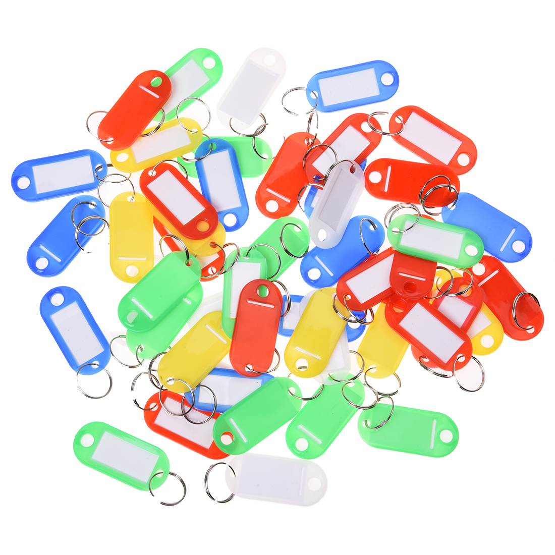 50 Pcs Colorful Key ID Label Tags Split Ring Keyring Keychain