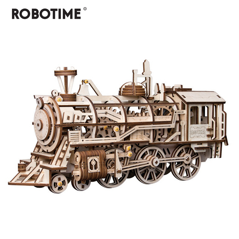 Robotime DIY Clockwork Gear Drive Locomotive 3D Wooden Model Building Kits Toys Hobbies Gift for Children