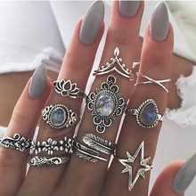 2set (11Pcs/Set) Bohemia Flowers Crystal stars Leaves Finger Ring Set Trendy Silver Joint Knuckle Rings Women Jewelry G-3