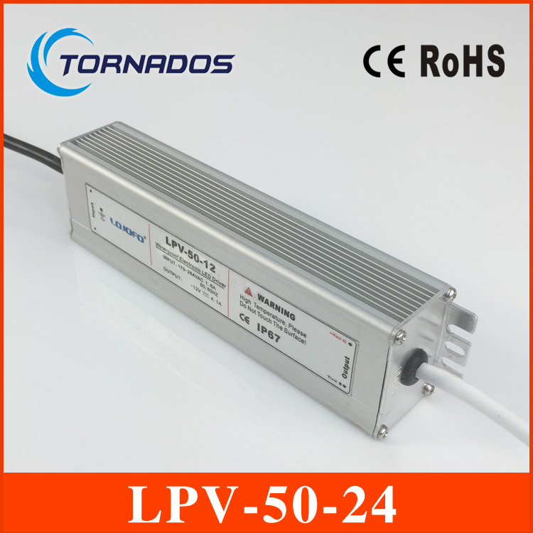 LPV-50-24 Series DC24V Waterproof led 100~250VAC Input LED Power Supply Output 50W for led light meanwell 24v 60w ul certificated lpv series ip67 waterproof power supply 90 264v ac to 24v dc