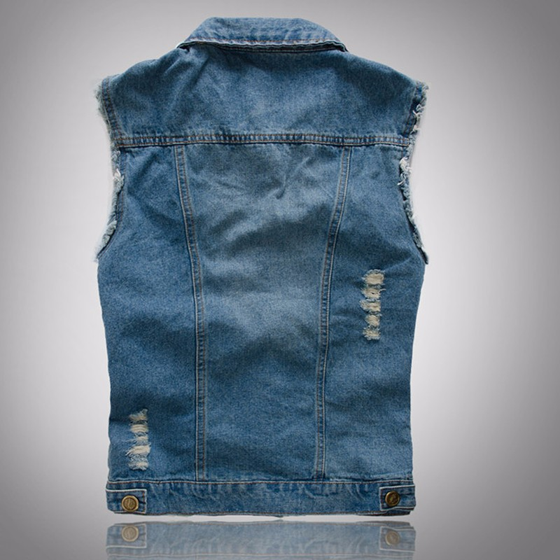 Fashion Male Denim Vest Men Hole Sleeveless Jean Jacket Ripped Plus Size Waistcoat  2016