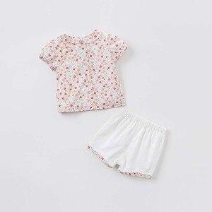 Image 3 - Комплекты летней одежды для детей Dave bella, милые детские комплекты с цветочным принтом, одежда высокого качества для новорожденных, одежда для девочек, DBA6585