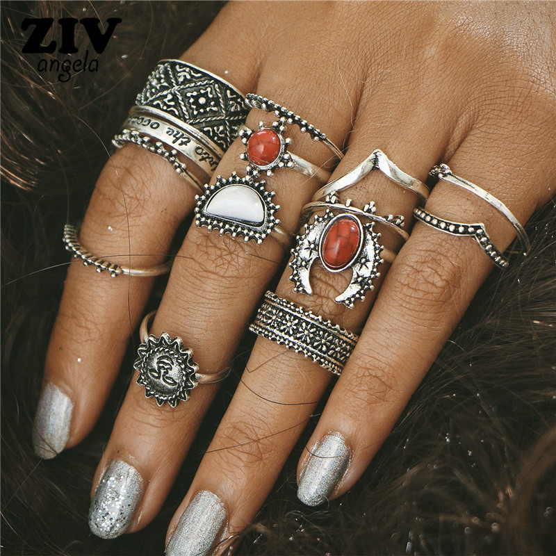 14pcs/Set Vintage Sun and moon Ring Set Unique Carved Antique Silver Anil los Crystal Knuckle Rings for Women Boho Beach Jewelry