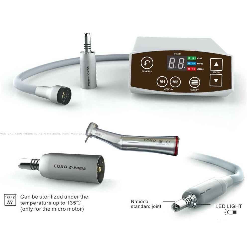 NEW 1 Set COXO Dental White LED Brushless Mini Electric Micro Motor System C PUMA + 1:5 RED increasing