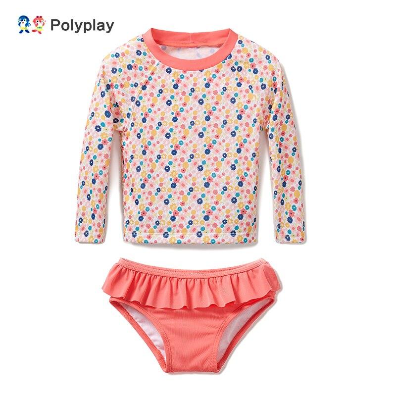 Bebê meninas banho de manga longa rash guard proteção uv secagem rápida surf duas peças maiô criança protetor solar beachwear