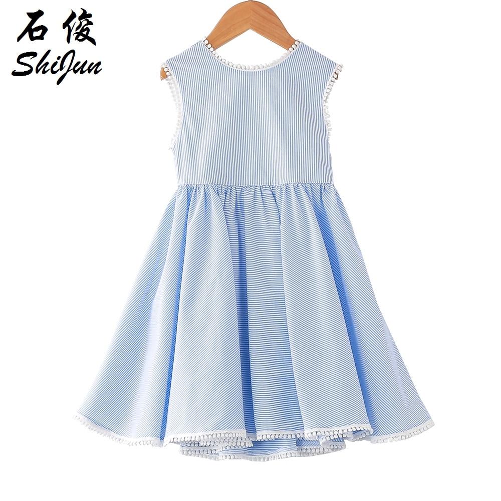 Shijun Kids Frock Designs 2019 Summer Striped Blue Cotton
