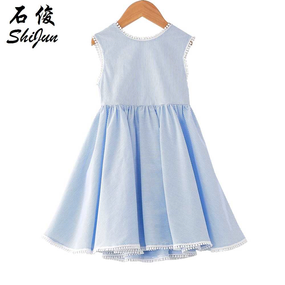 692e8f87a31 Detail Feedback Questions about Shijun Kids Frock Designs 2019 Summer  Striped Blue Cotton Backless Girl dress on Aliexpress.com