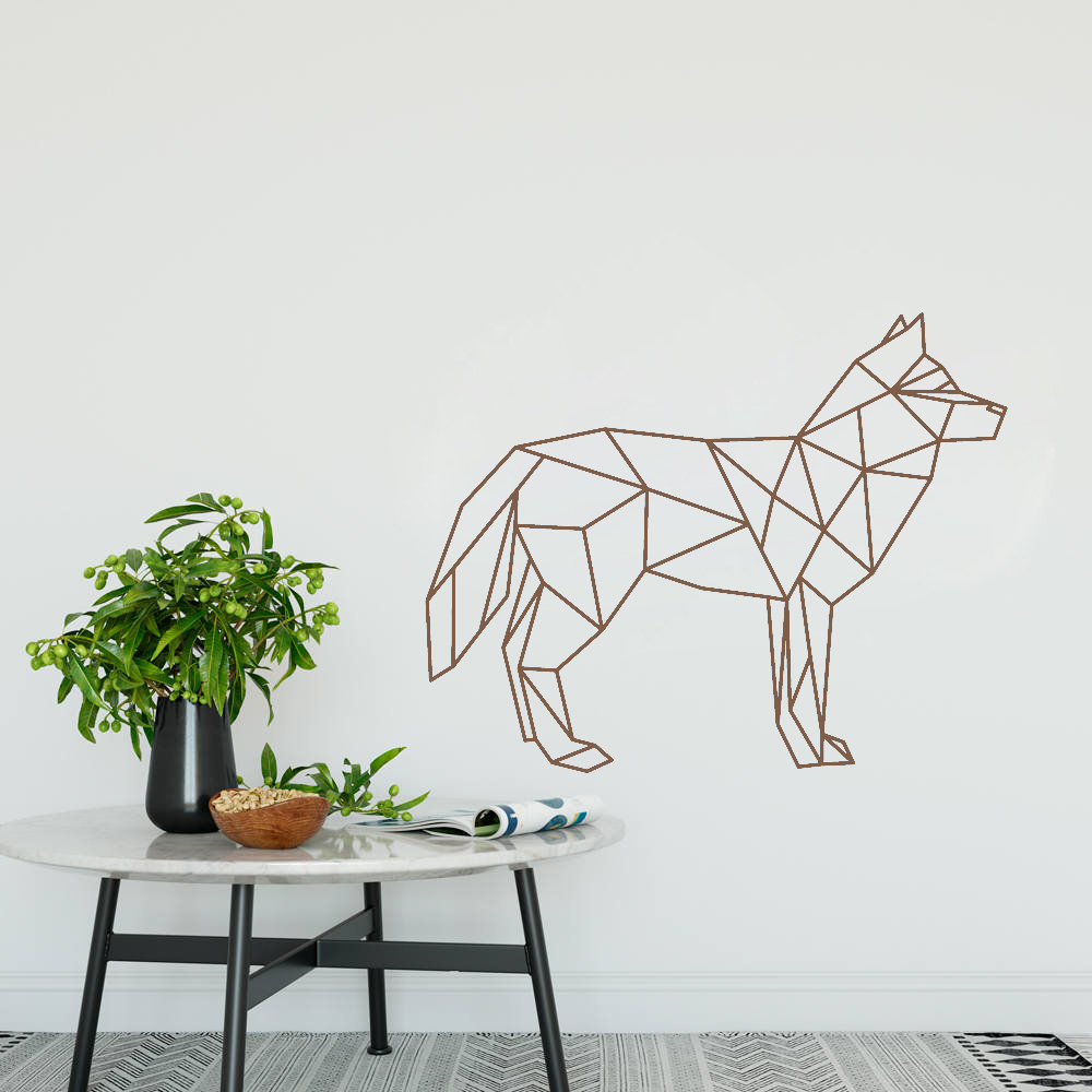 Wolf wall decals geometric animal art wall sticker 3d home decor removable creative vinyl stickers muraux decorative hot lc373 in wall stickers from home