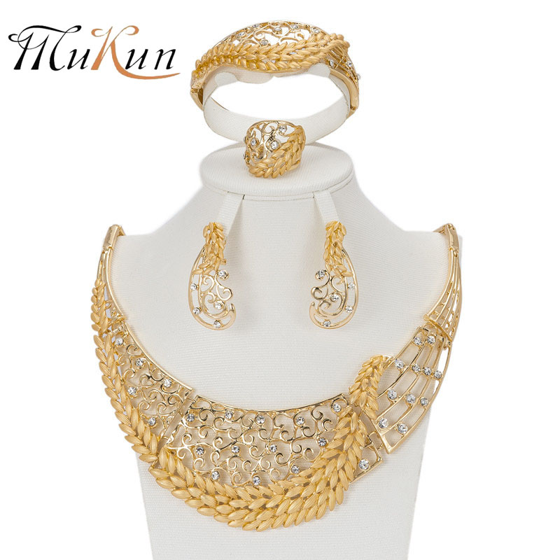 MUKUN Latest Trendy African Beads Jewelry Sets Gold Color Dress - Fashion Jewelry - Photo 1