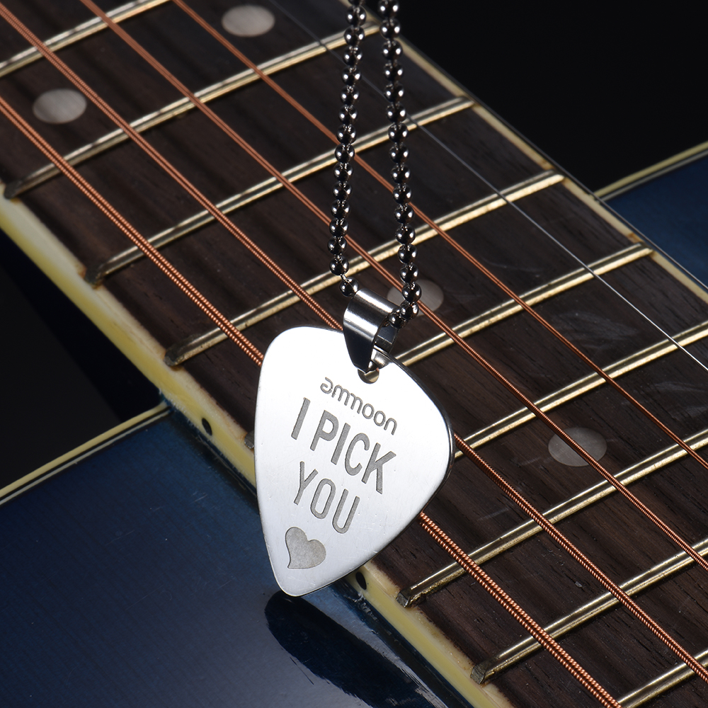 buy ammoon electric guitar pick necklace stainless steel with 50cm 20in ball. Black Bedroom Furniture Sets. Home Design Ideas