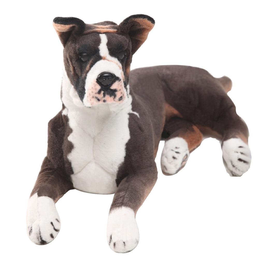 Dorimytrader Pop Realistic Animal Boxer Dog Plush Toy Big Stuffed Simulation Pet Dog Doll Gift For Children 31inch 80cm DY61895