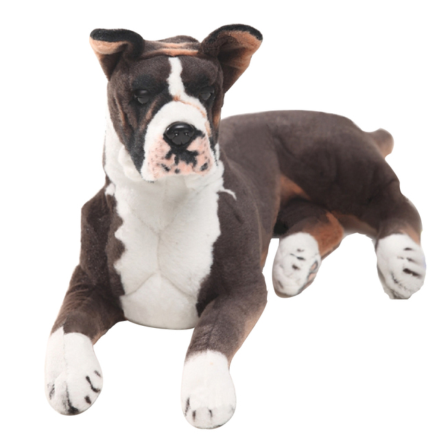 Dorimytrader Pop Realistic Animal Boxer Dog Plush Toy Big Stuffed