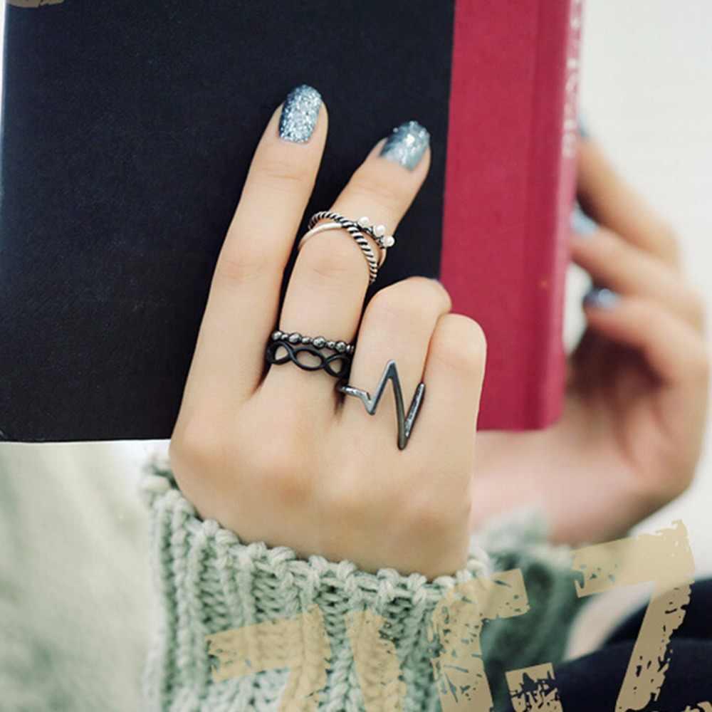 Velishy4Pcs/ชุดร้อนพังก์แฟชั่นผู้หญิงสีดำเงินเหนือวงMidi K Nuckleแหวนผู้หญิงเครื่องประดับแฟชั่น