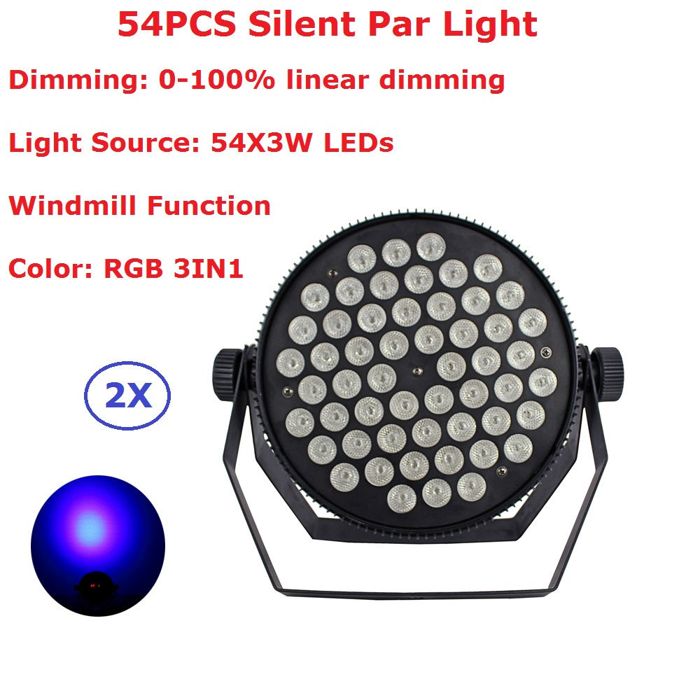 2 Pack Indoor LED Silent Par Cans 54X3W RGB 3IN1 LED Flat Par Lights With Windmill Function KTV Nightclub Lighting Projector