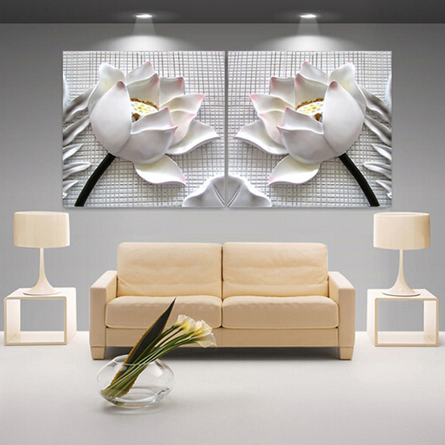 Modern 3d white lotus definition pictures canvas home decoration living room wall modular painting print cuadros