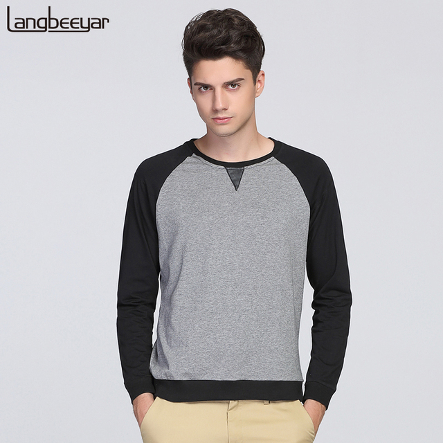 2017 Autumn New Fashion Brand Clothing Tshirt Men O-Neck Korean Slim Fit Long Sleeve T Shirt Men Patchwork Casual T-Shirts