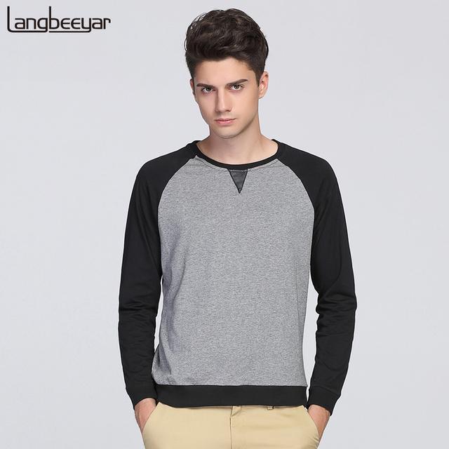 2017 otoño nueva moda marca clothing camiseta hombres o-cuello de corea slim fit de manga larga camiseta de los hombres ocasional del remiendo camisetas