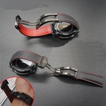 22mm de fibra de Carbono Genuina banda de Cuero de hebilla de metal correas de reloj correa para Samsung S3 de Engranajes Classic Frontera Mejor Calidad