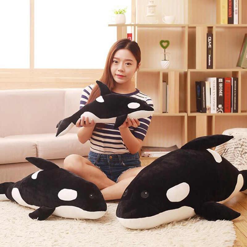 นุ่มสีดำและสีขาว Killer Whale Figurine ปลาวาฬตุ๊กตาของเล่น Super นุ่มจำลองปลาวาฬหมอนเด็กวันเกิดของขวัญโซฟาเบาะ