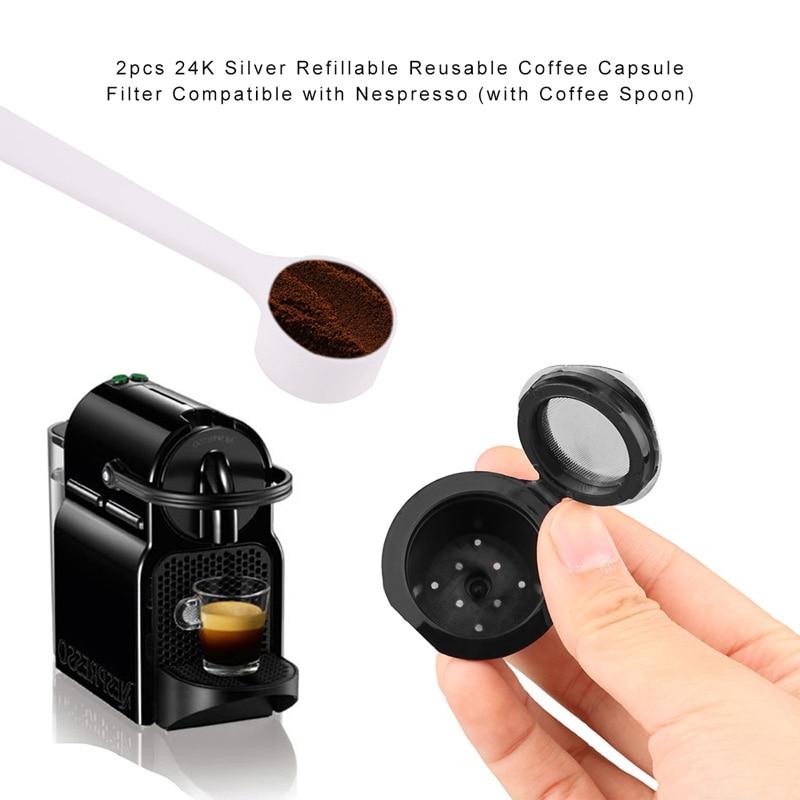 LemonBest 2pcs Silver Refillable Reusable Coffee Capsule Filter ...
